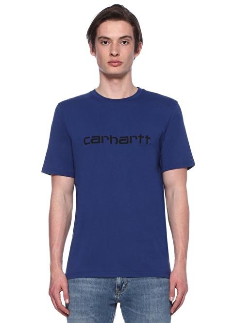 Carhartt Bisiklet Yaka Baskılı Tişört Mavi